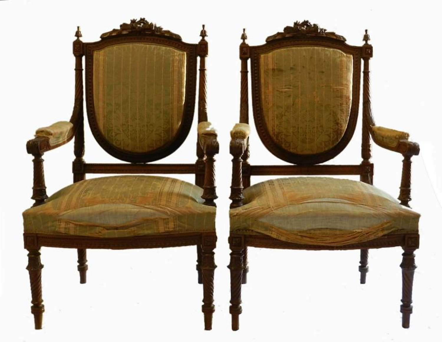 Pair of Antique French Armchairs Louis XVI