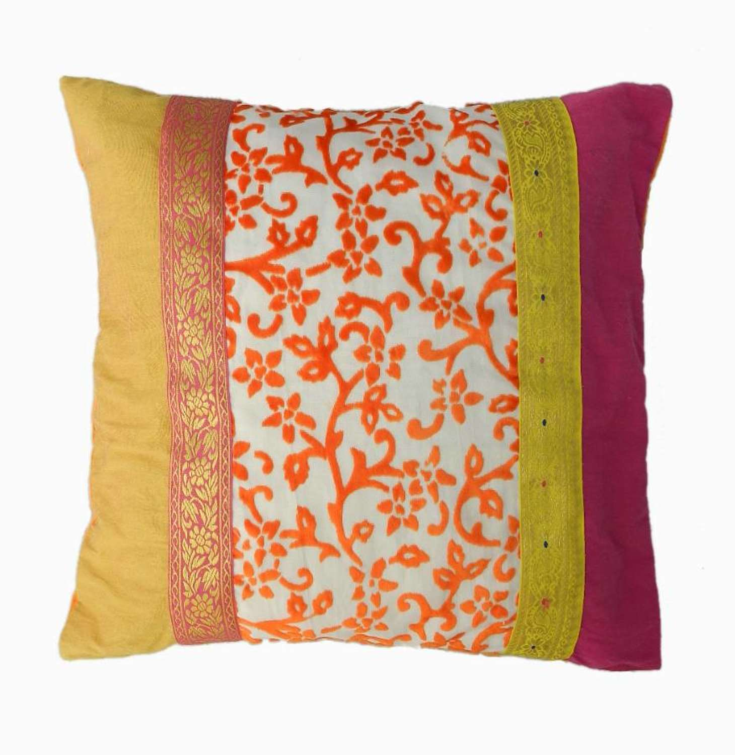French Pillow Accent Cushion Vintage Fabric
