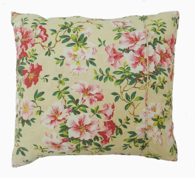Unique French Pillow Accent Cushion Vintage Fabric Chintz