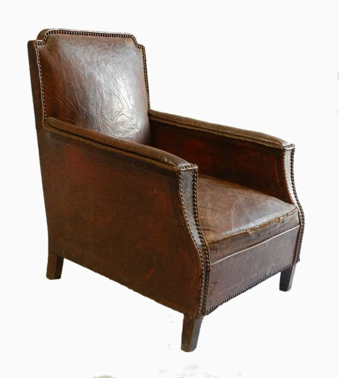 French Art Deco Leather Armchair Club Chair