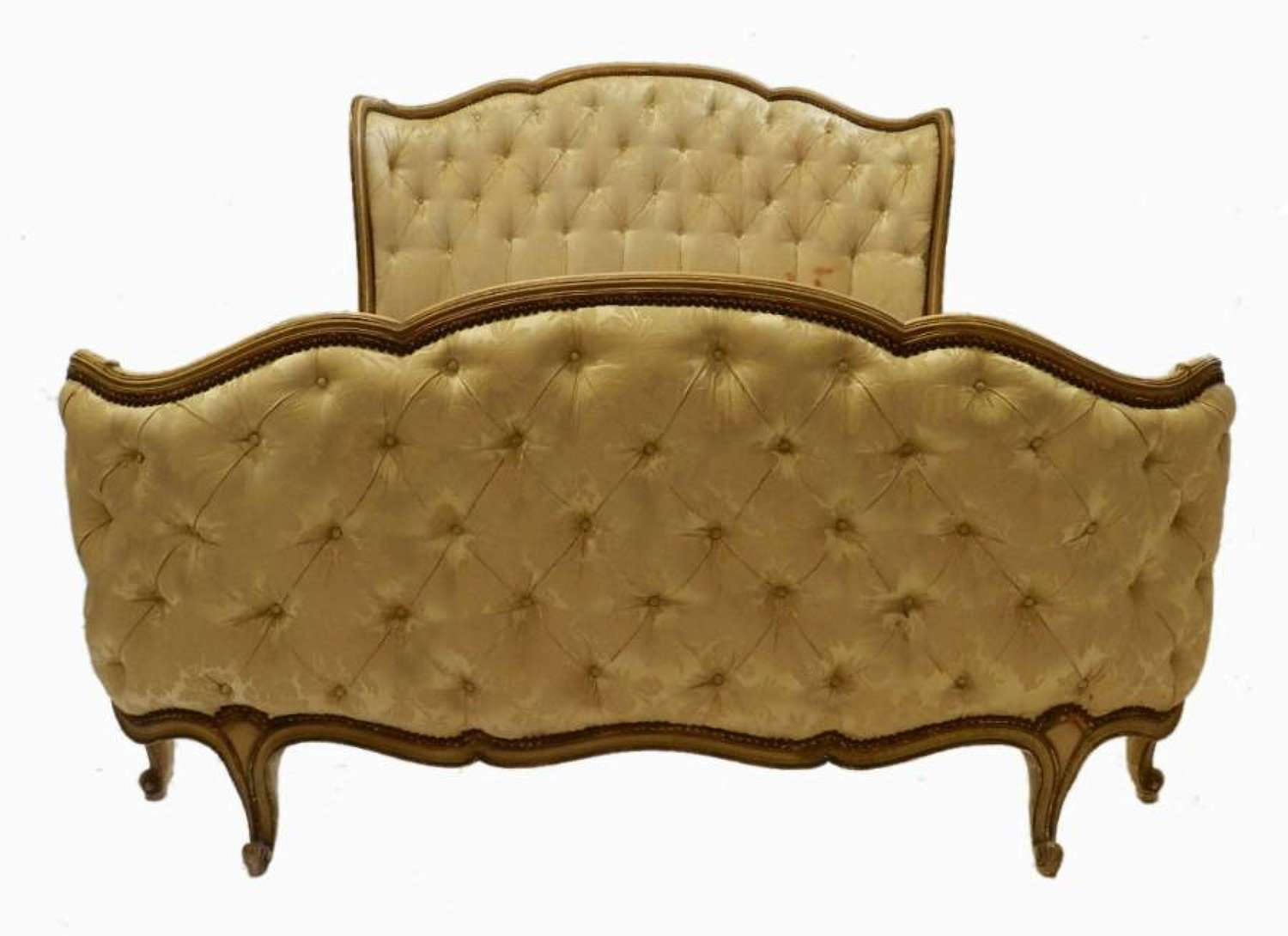 French Double Bed + Base Button Back to recover