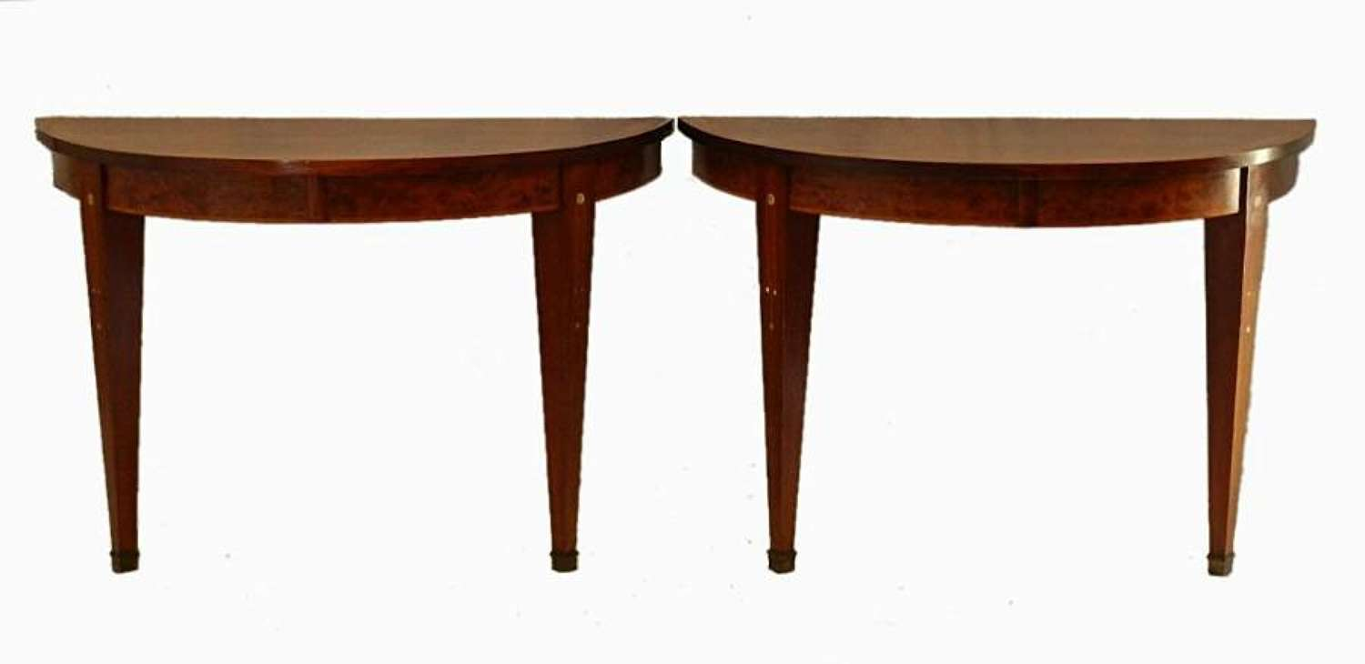 Pair of Art Deco Console Tables French inlaid MoP Demi Lune