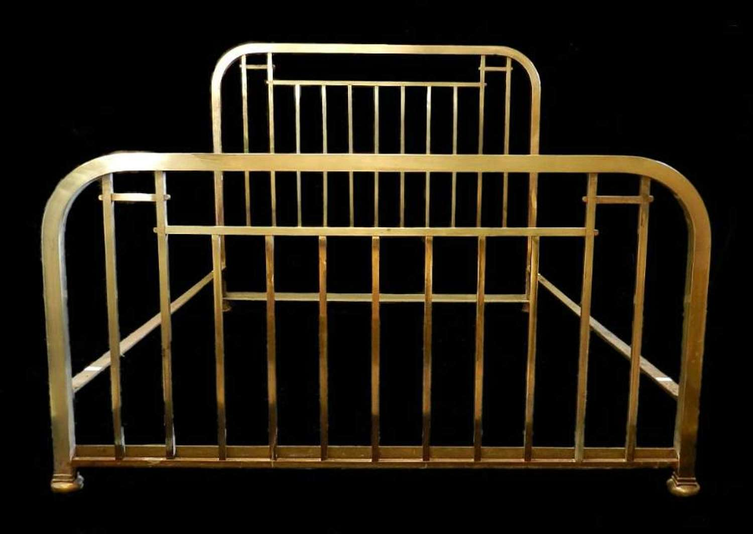 Art Deco Brass King Size Bed + Base Rare French Original