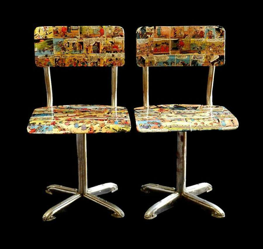 1950s Pair Mid Century Child Chairs Bentwood Comic Collage Decor Cowbo