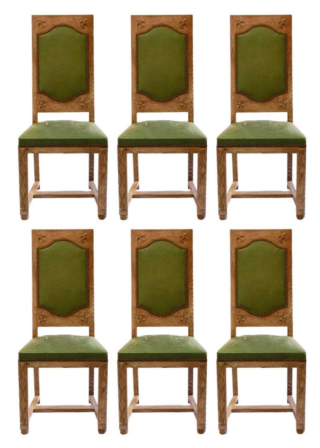 Six Arts and Crafts Dining Chairs Limed Oak to recover