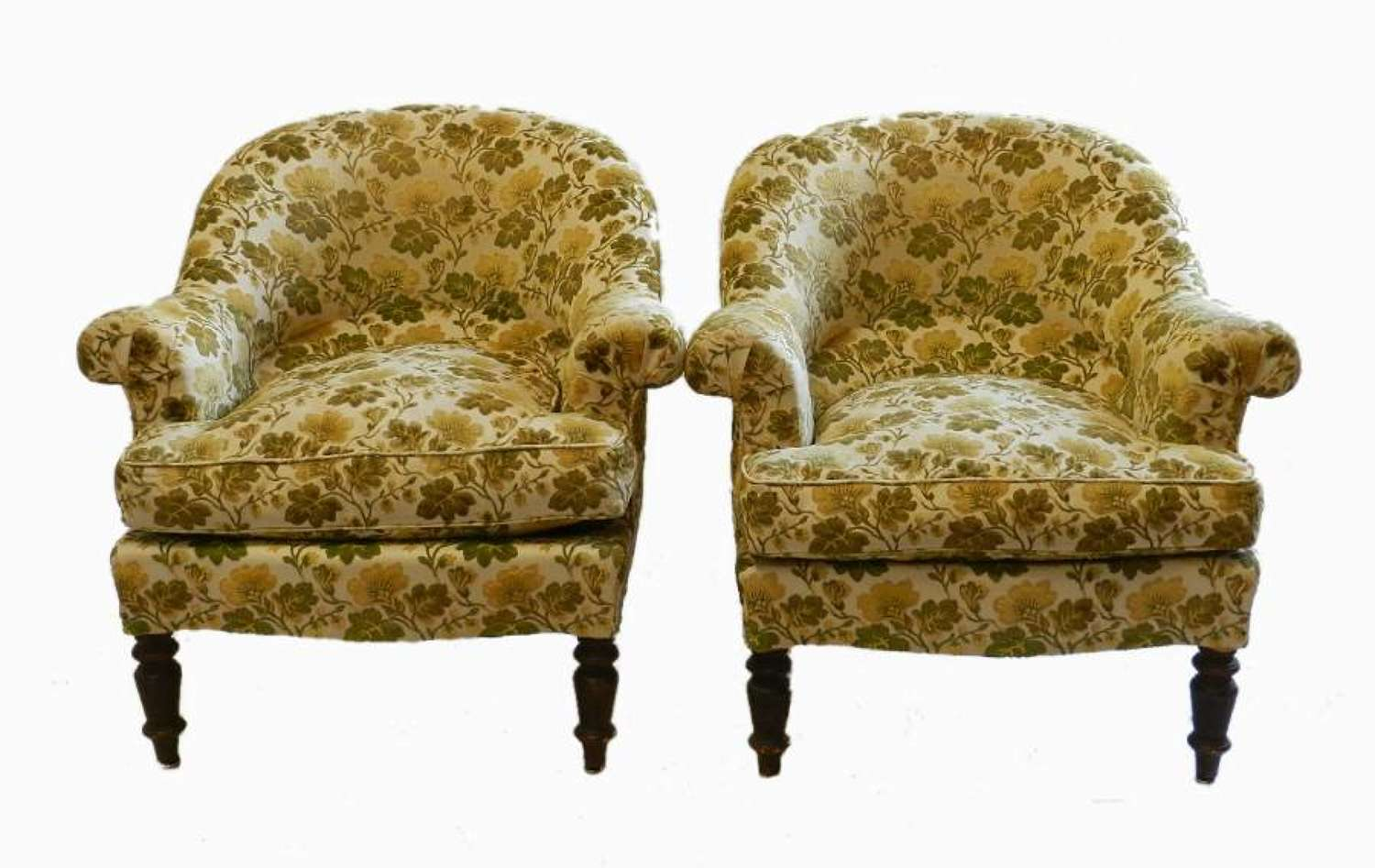 C19 French Comfy Pair of Armchairs use or recover
