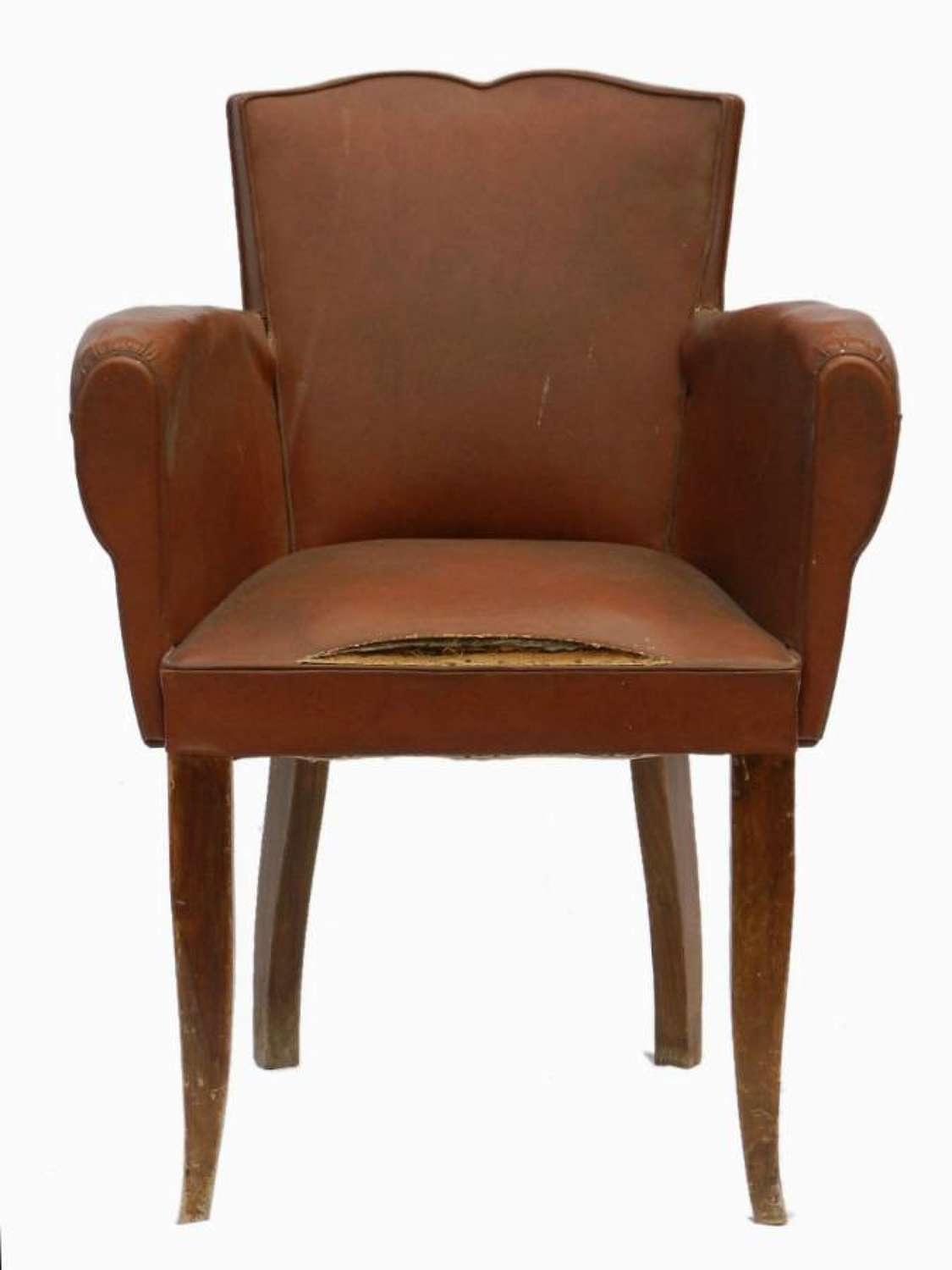 French Art Deco Armchair Moustache Back Bridge Chair to recover Barn Fresh