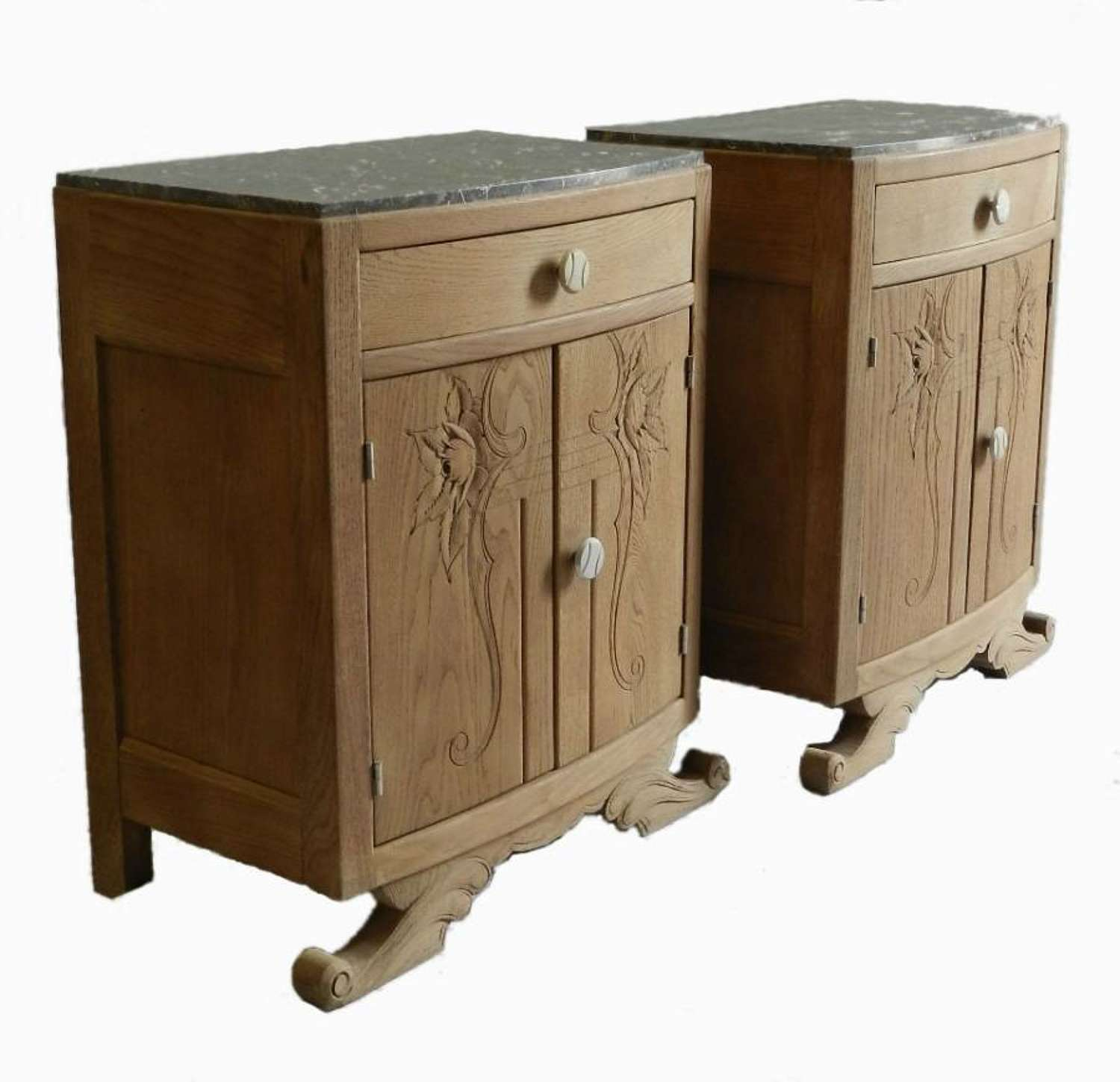 French Pair Art Deco Side Cabinets Nightstand Bedside Tables bleached oak