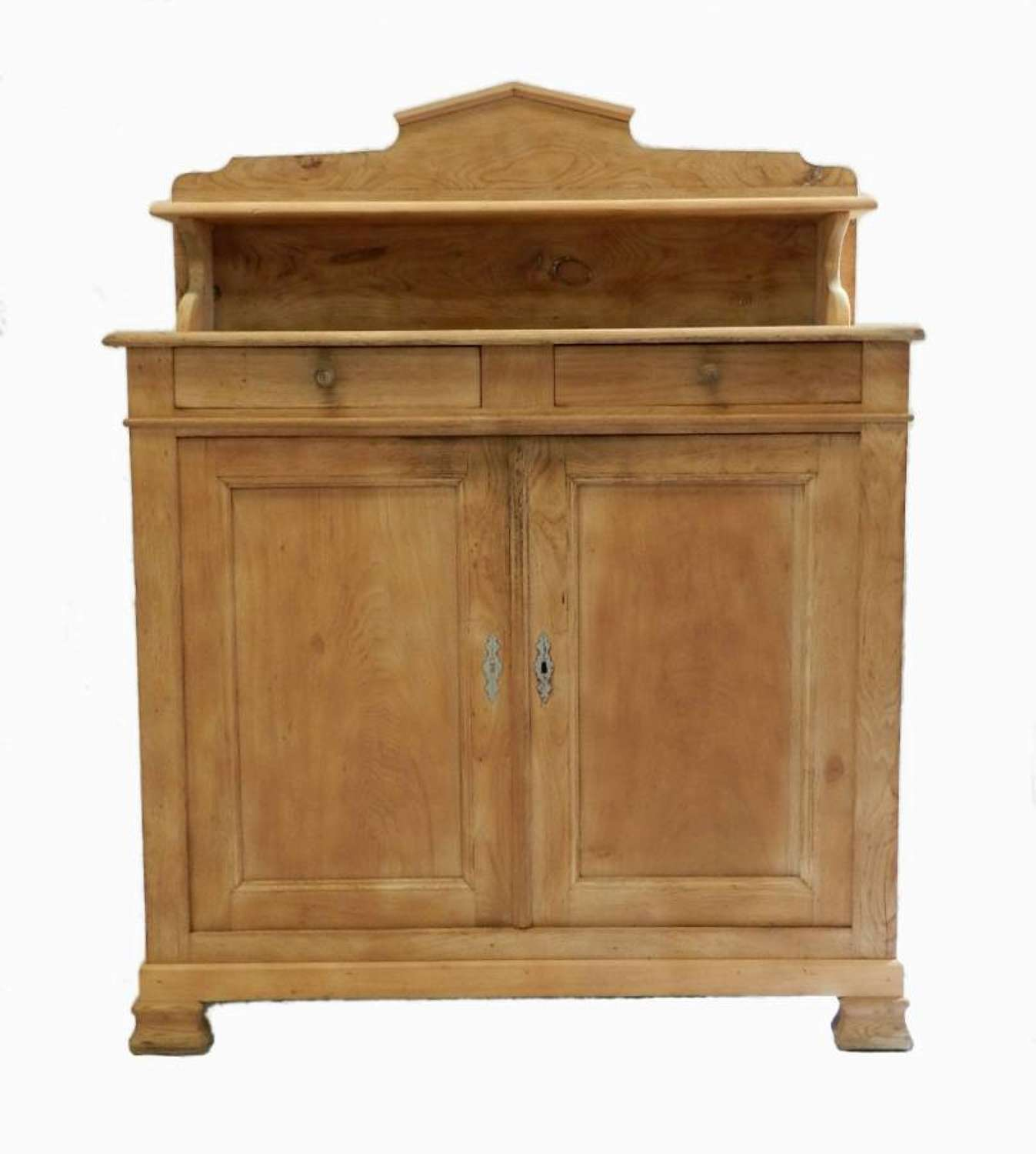 C19 Farmhouse Kitchen French Buffet Cupboard Bleached