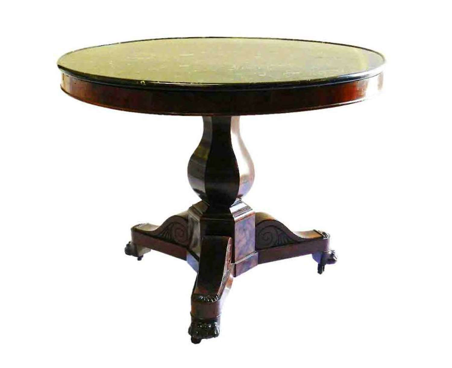 C19 French Gueridon Table Flame Mahogany Marble Top Lion Paw Feet