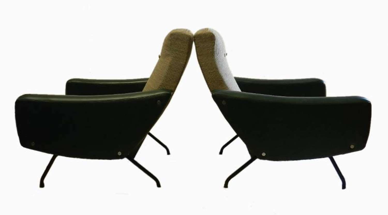 Steiner Pair Armchairs by Joseph  Andre Motte c1950 Mid Century