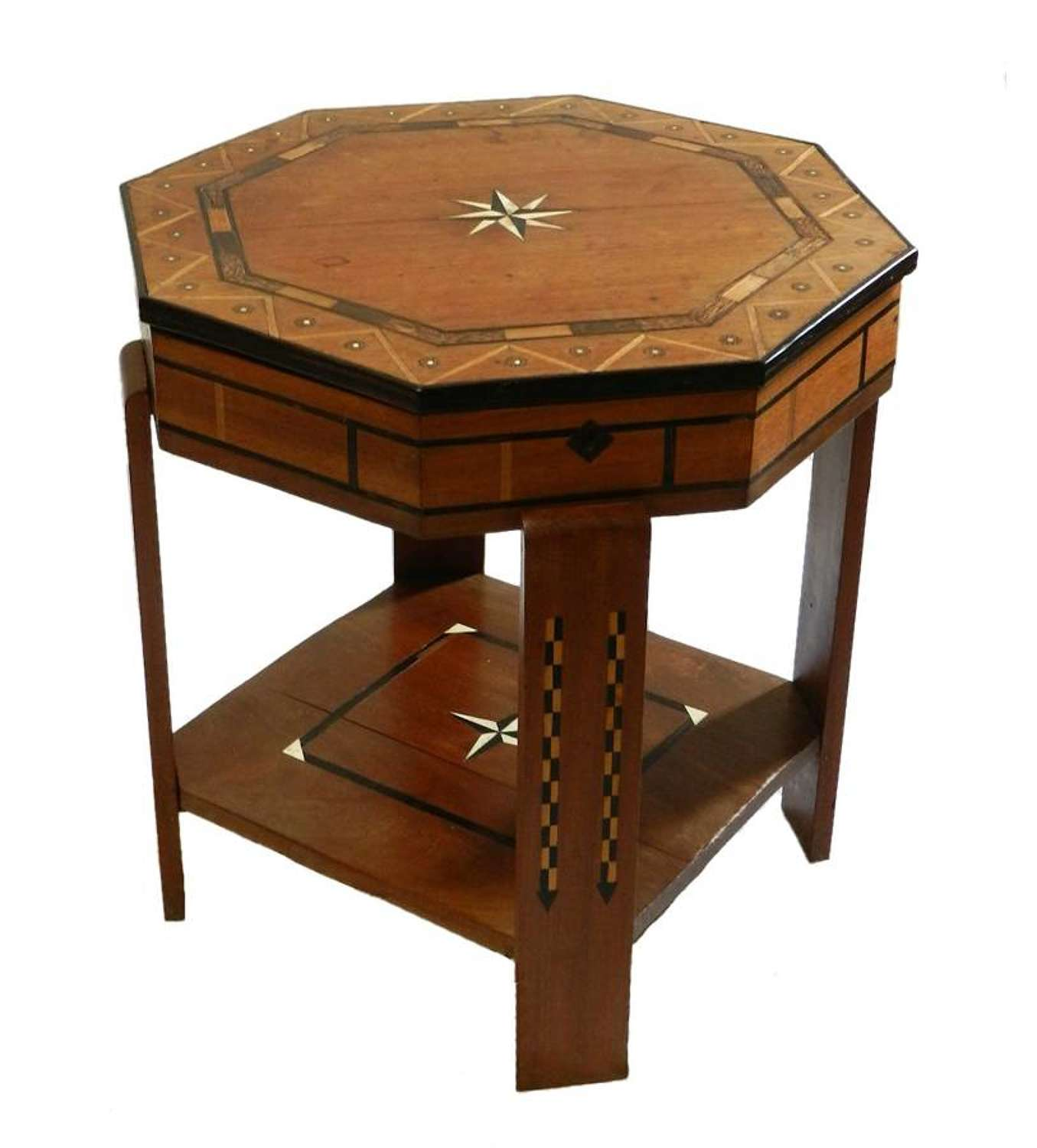 Unusual Art Deco Table Marquetry opening Top French moorish