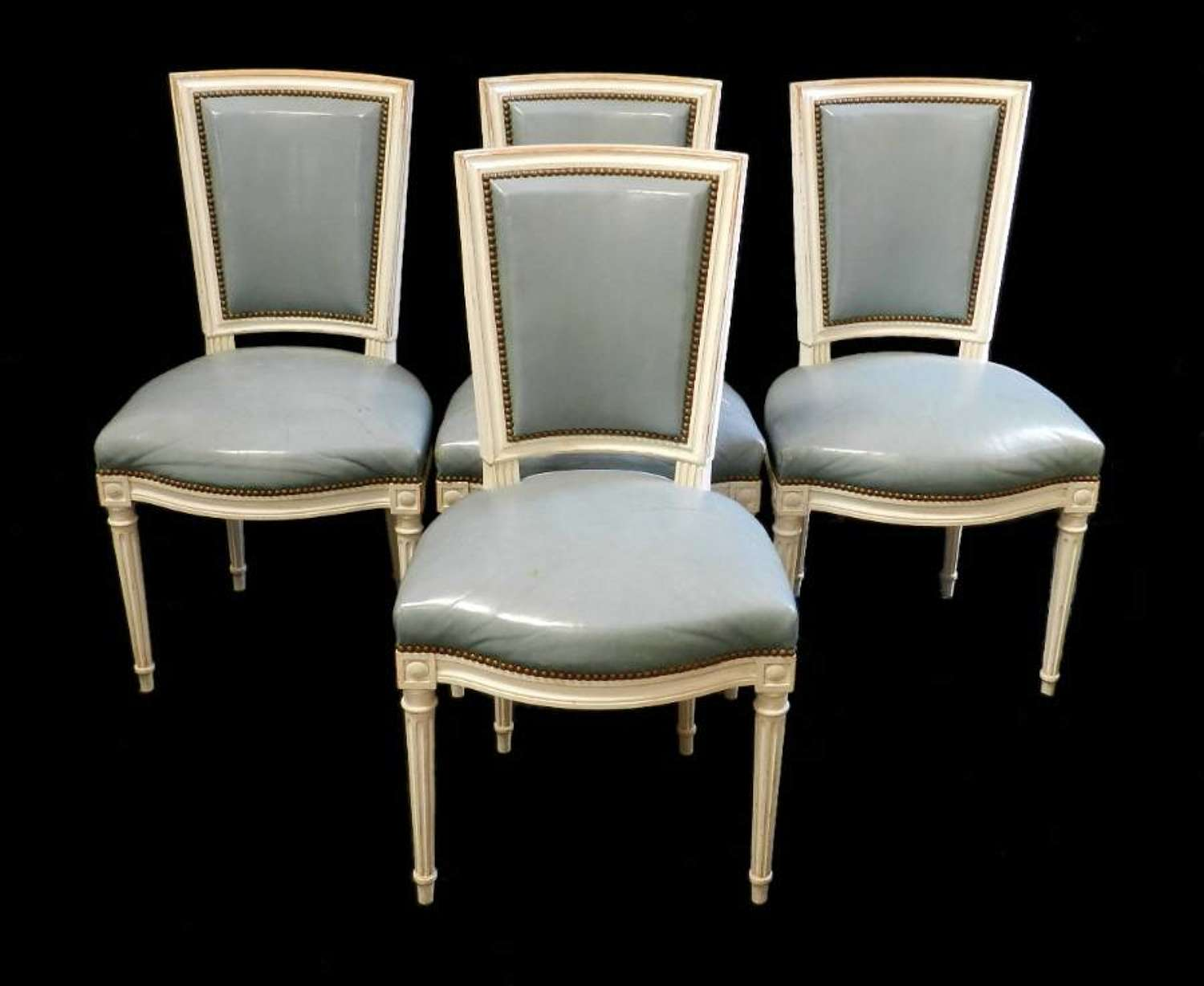 4 early C20 French Chairs Blue Leather