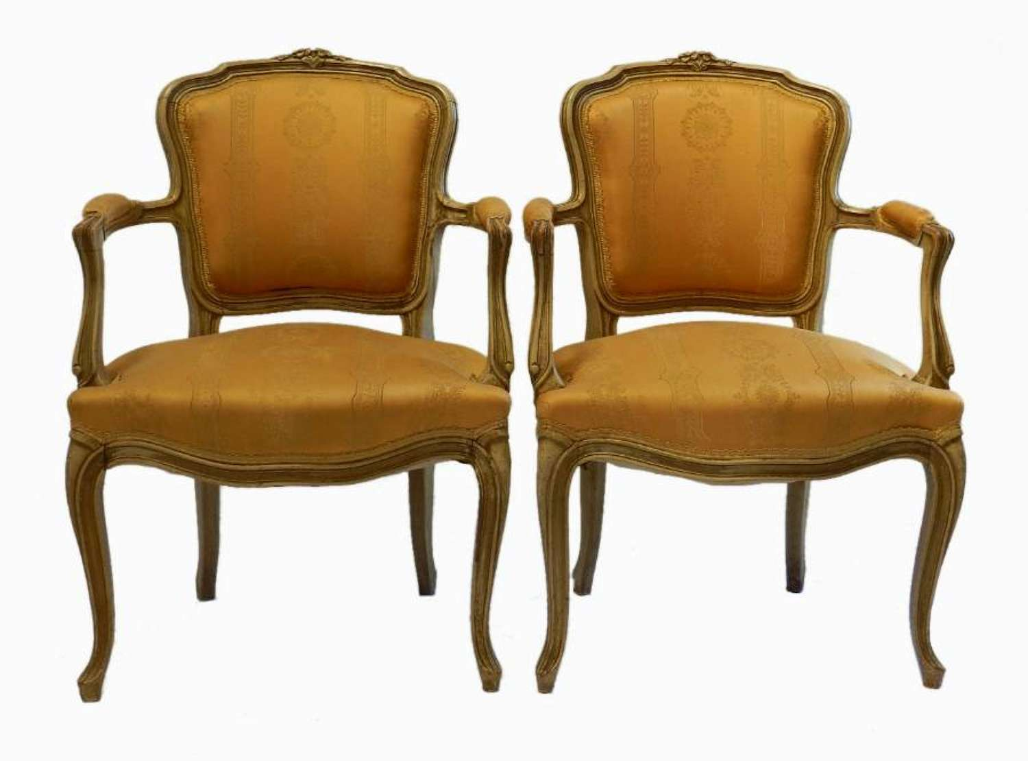 Pair of French Open Armchairs Cabriolet