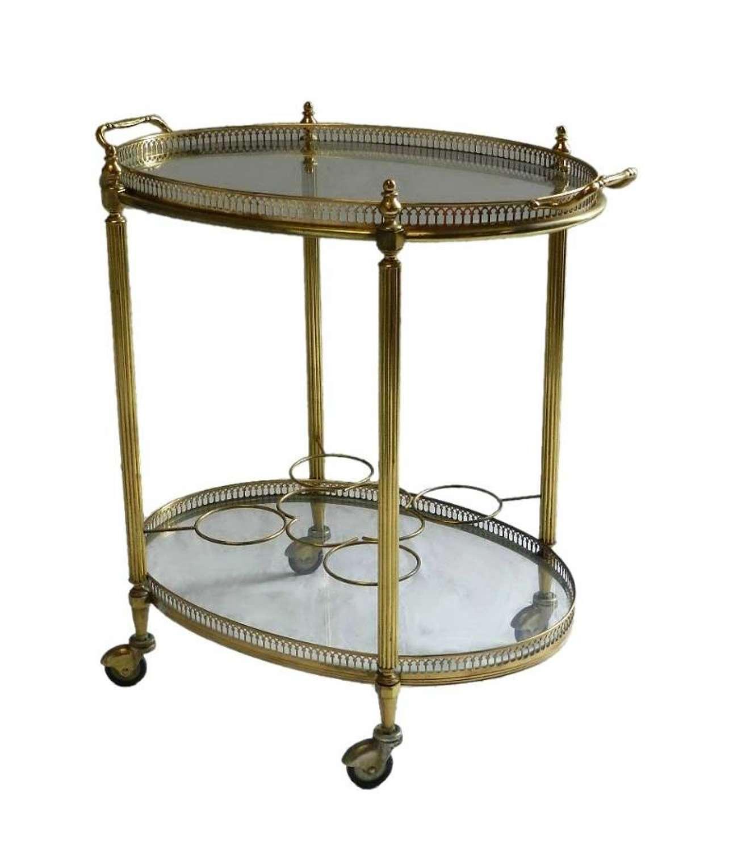 French Brass & Glass Drinks Trolley Bar Cart