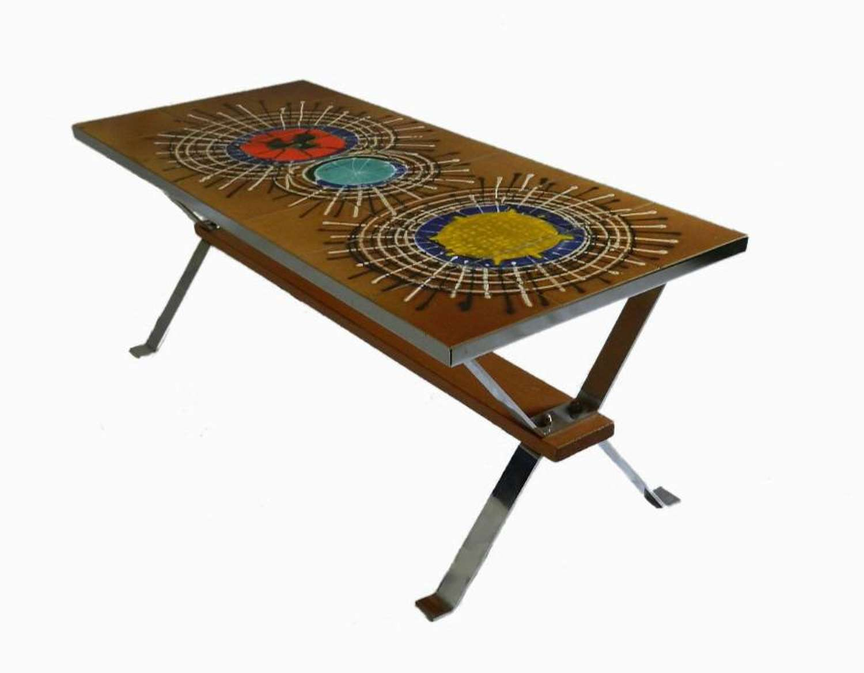 1970s Coffee Table Trestle Ceramic Tile Top