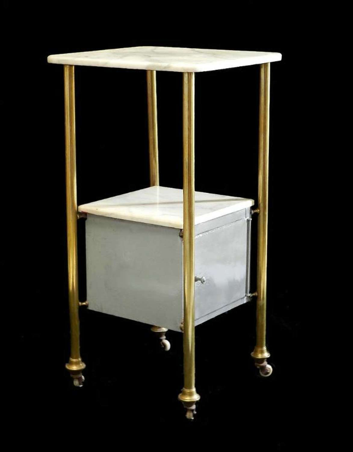 French Side Cabinet Nightstand Bedside Table Brass Marble Tole