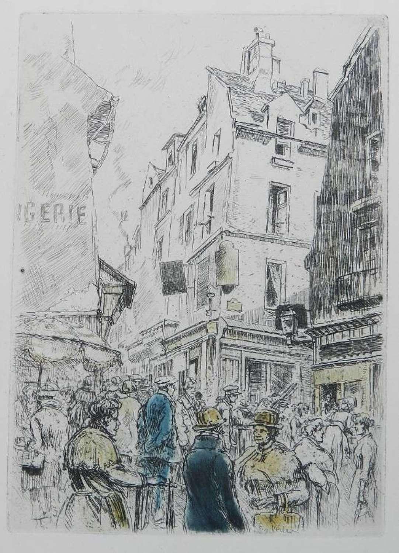 Eugene Veder Etching French Street Scene 1920s
