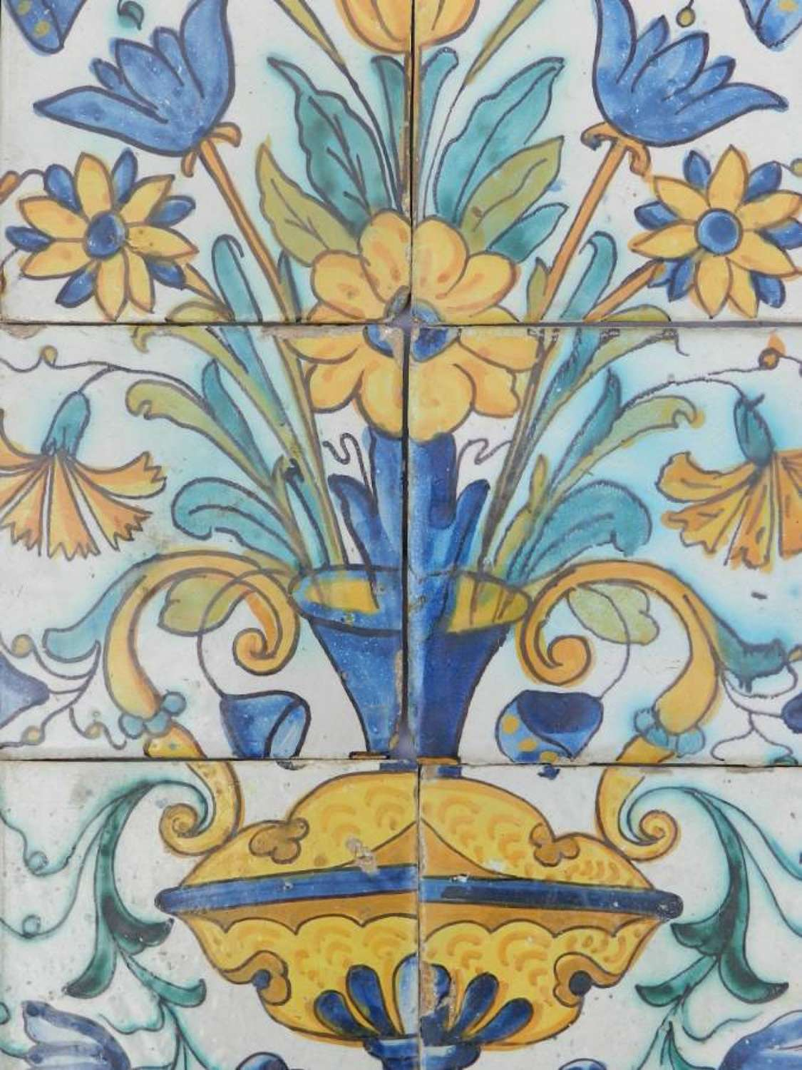 Set of 6 Old French Tiles Provincial Hand Painted Terracotta