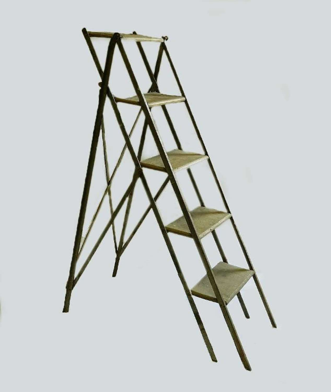 Mid Century French Step Ladder Industrial Loft