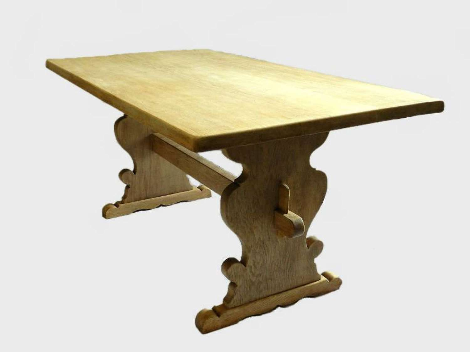 Bleached Elm Scandinavian Trestle Table Refectory Dining