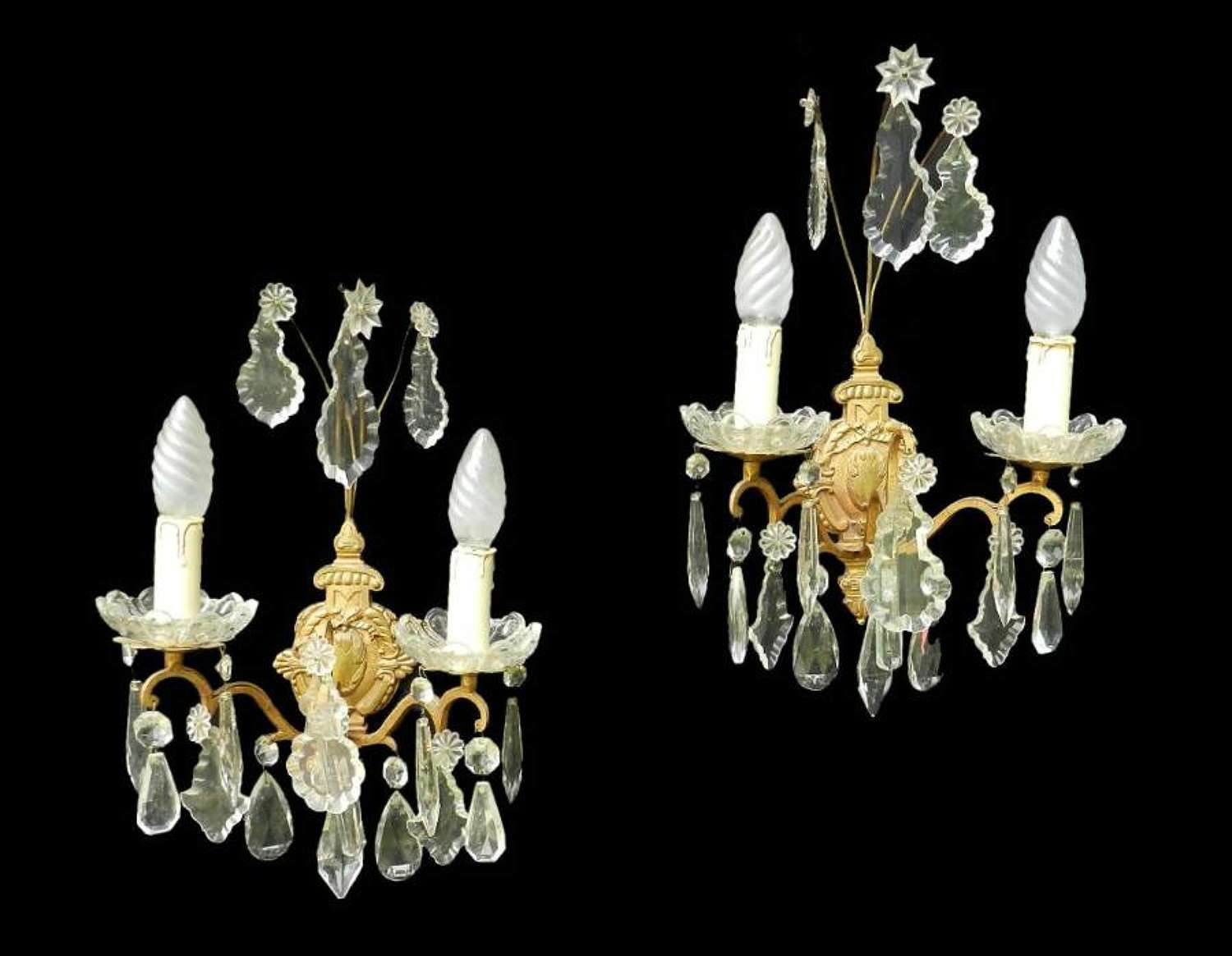 Pair of French Crystal Drop Wall Lights Appliques c1900