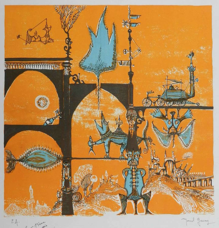 Signed Lithograph by Marcel Genay Le Monde Fatastique