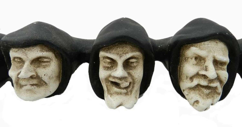 French Gargoyle Heads Plaster Statue 7 Misericord Monks