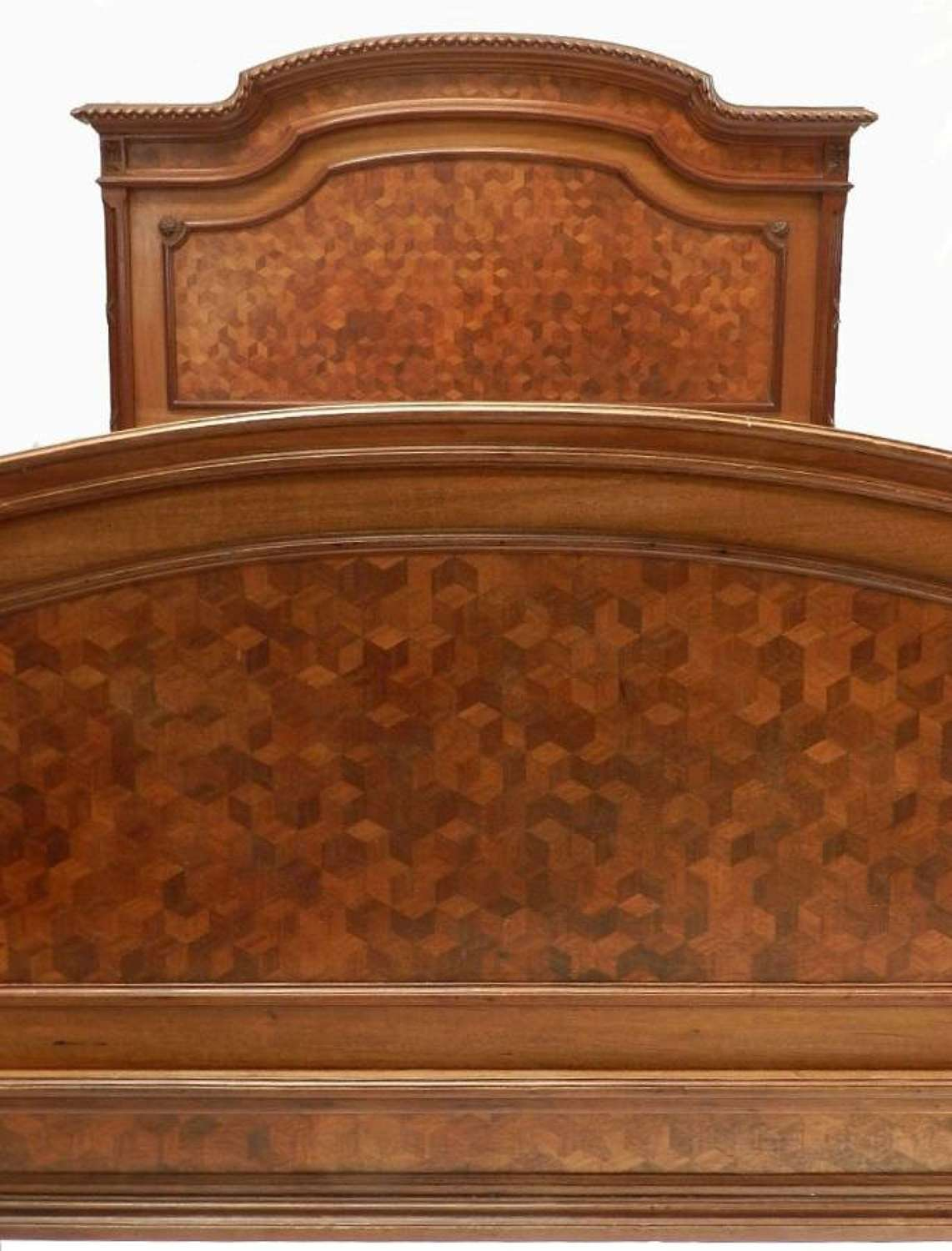 Very Unusual C19 Louis XVI French Double Bed or King Size Bed + Base Marquetry
