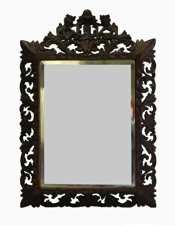 Splendid C19 French Wall Mirror carved oak