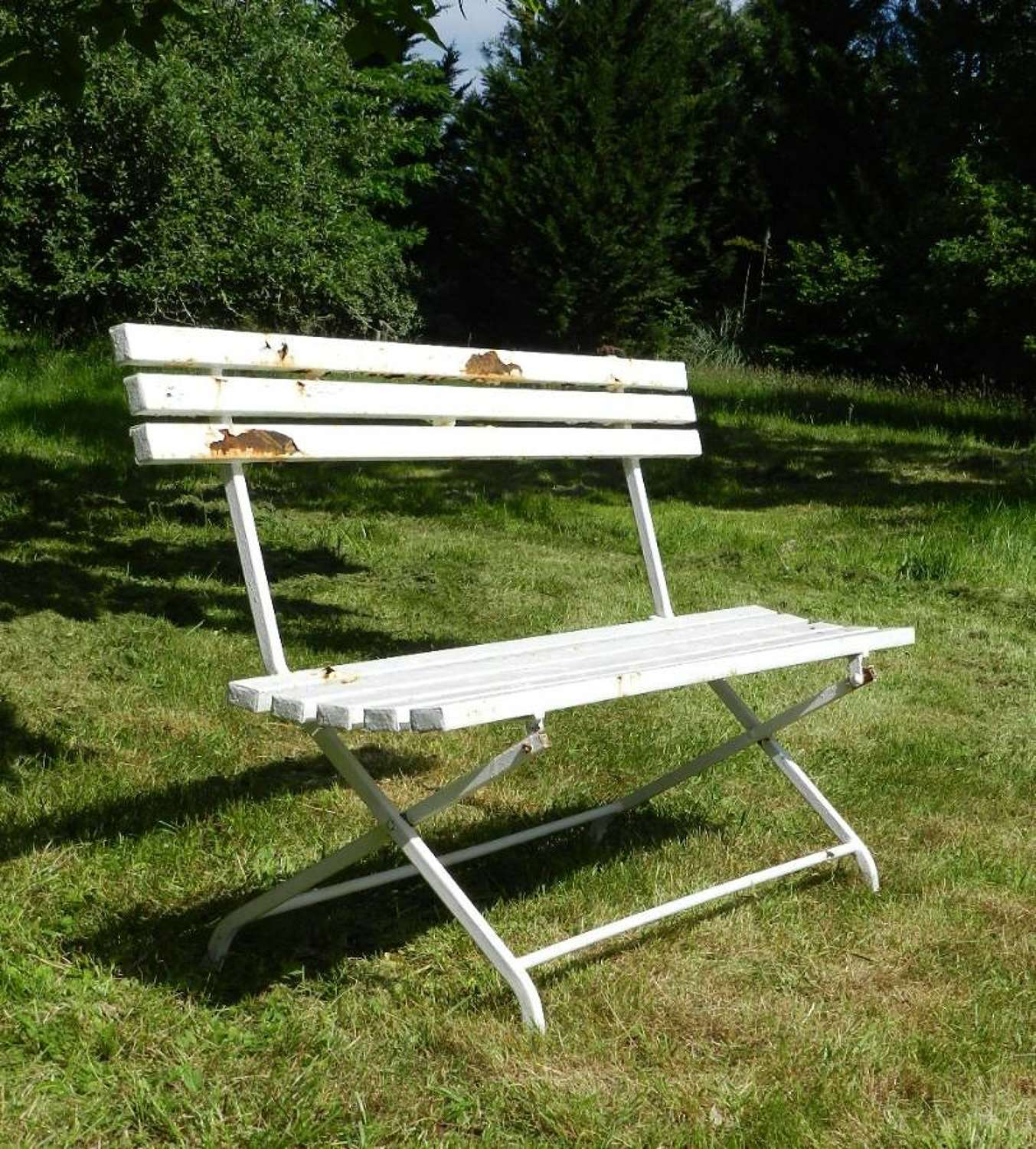 Folding French Garden Bench painted metal Mid Century