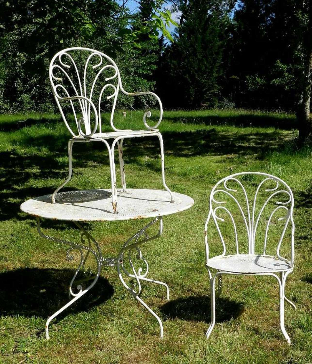 French Garden Table + 2 Chairs Painted Iron early C20