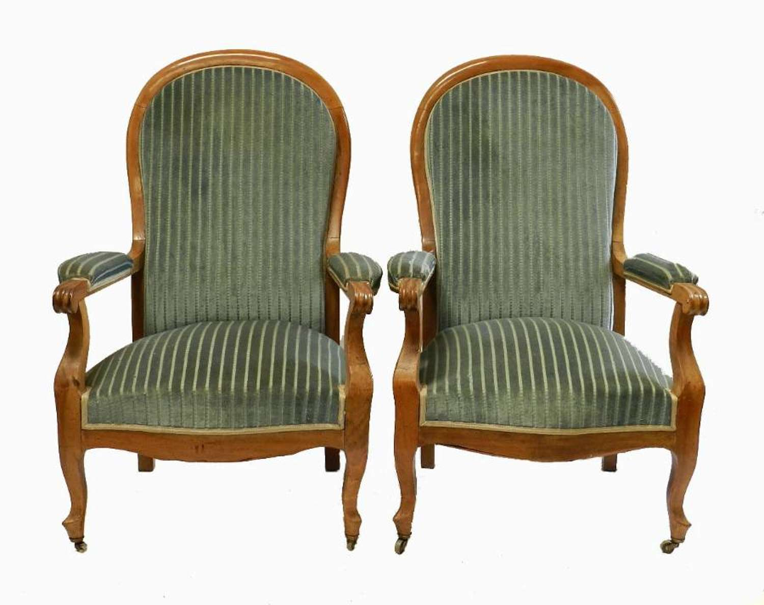 Pair C19 Provincial French Armchairs Cherry wood to recover