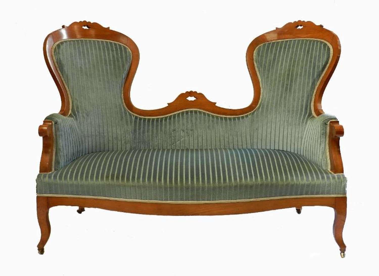 Unusual C19 French Sofa Provincial Cherry wood
