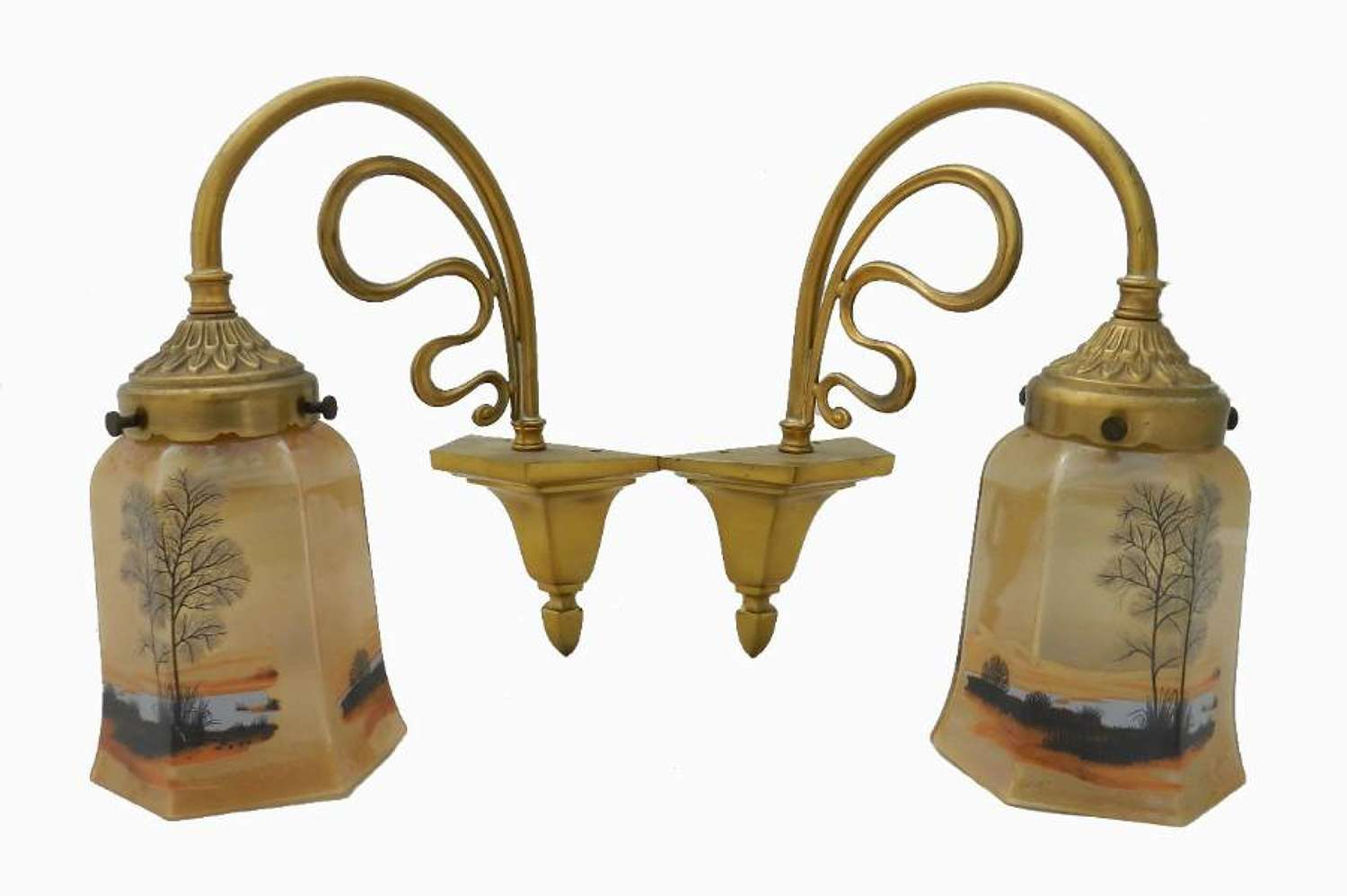 Pair of French Art Nouveau Wall Lights Appliques matching chandelier available