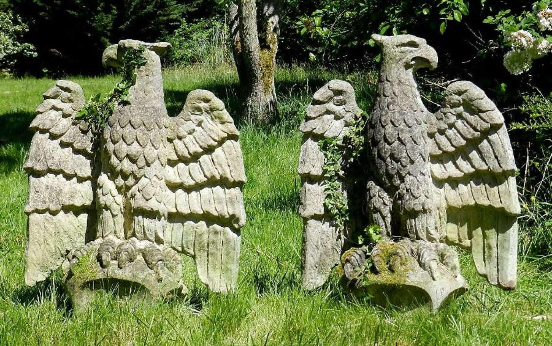 Impressive Pair 1920s Eagles weathered composite stone