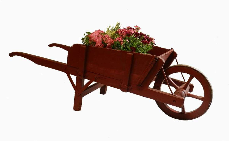 Early C20 French Garden Wheelbarrow original painted wood
