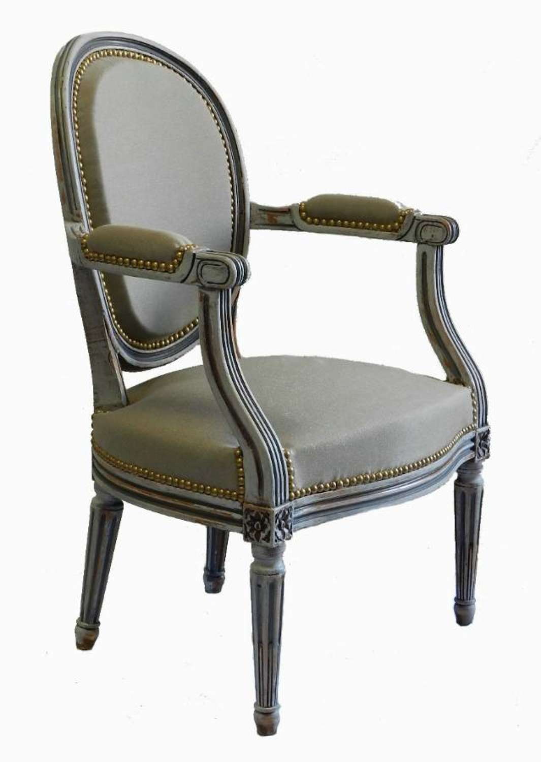 French painted Armchair  Medallion Back