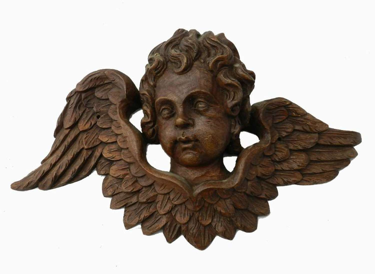 C19 French Carved Oak Angel Cherub Head with Wings