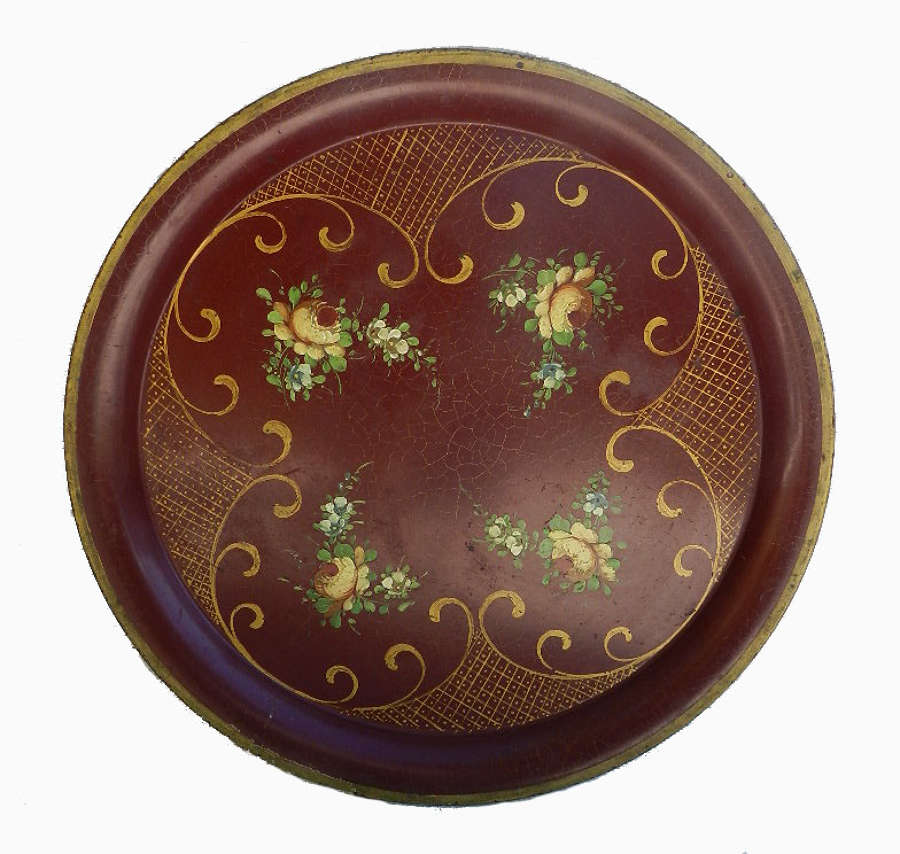 Painted Tole Tray Signed Vintage
