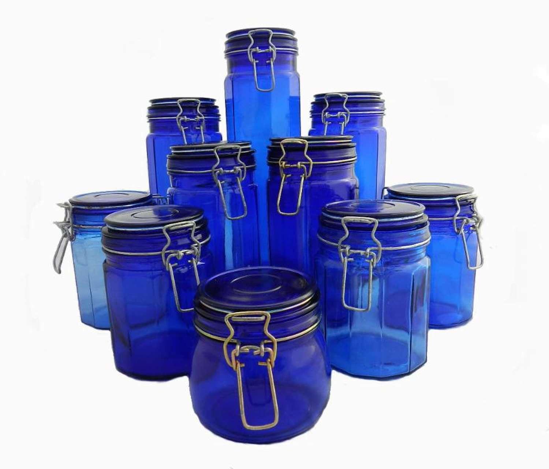 10 vintage French Cobalt Blue Glass Storage Jars