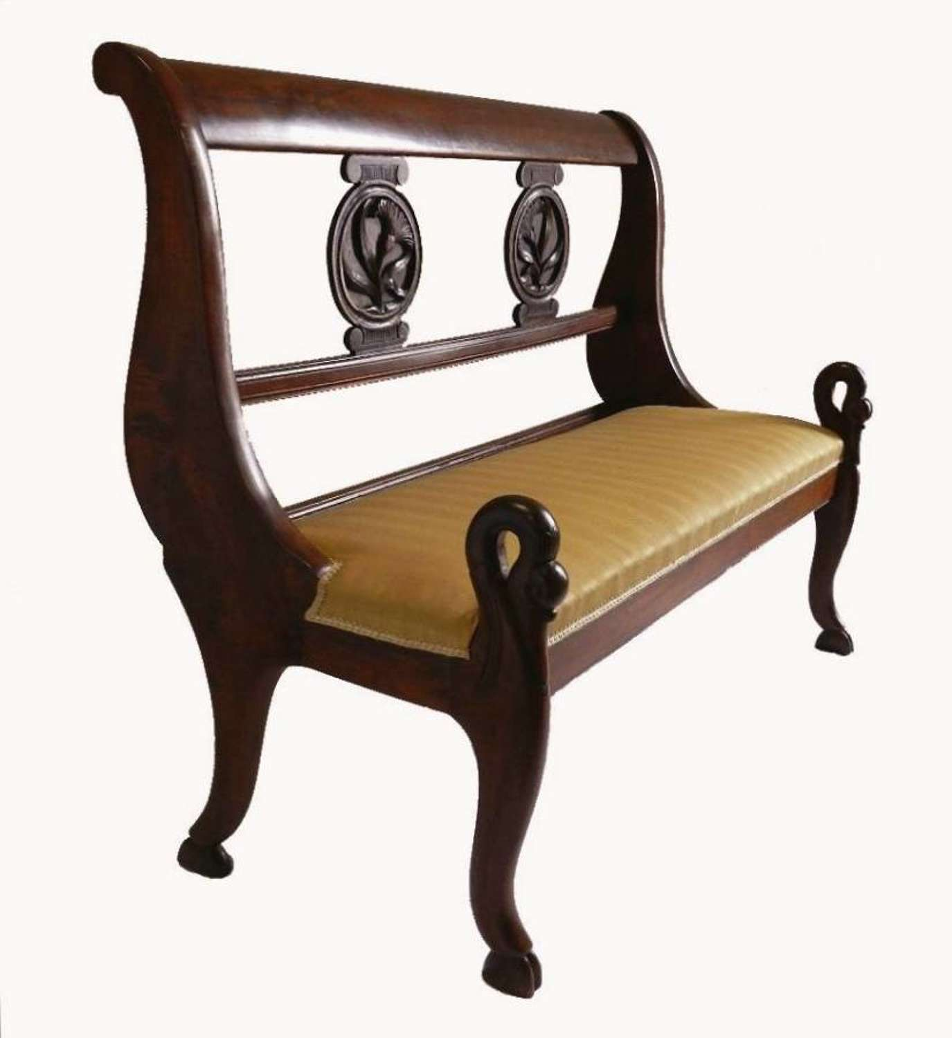 French Provincial Empire Bench Sofa Swan Neck