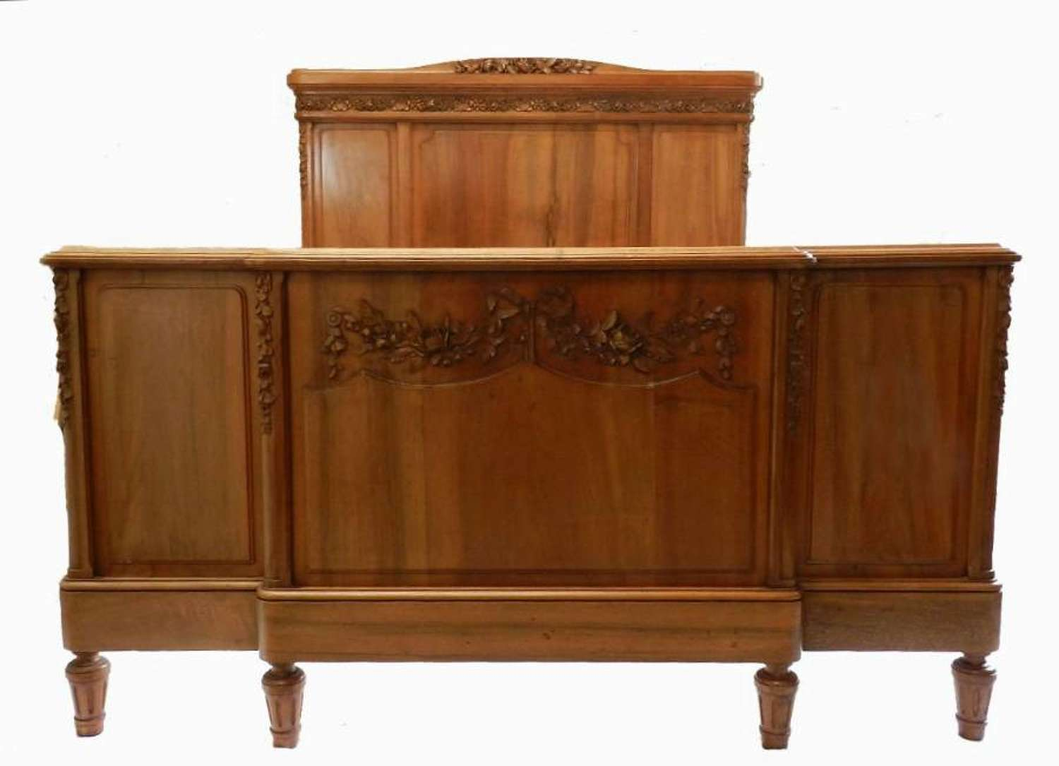 C19 Double or King French Bed + Base Walnut