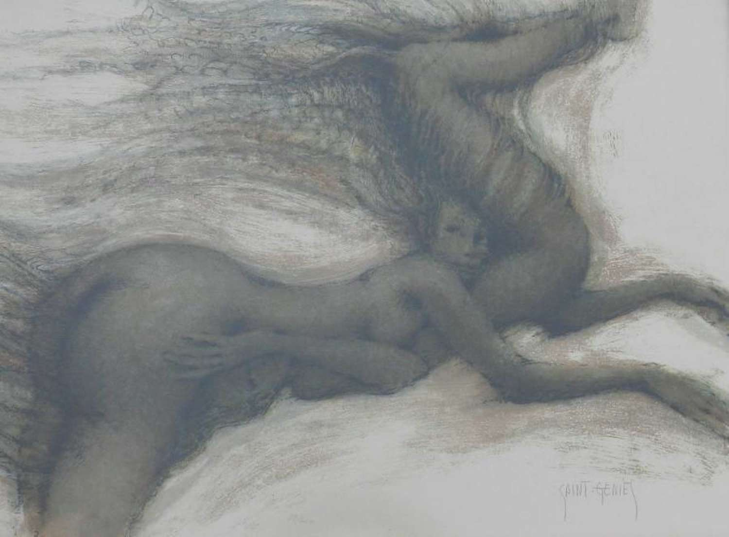Signed Lithograph Anthropomorphic Nudes Horse Saint Genies french 1925-
