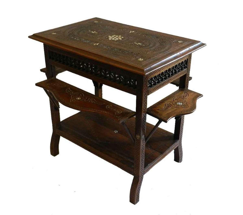 Unusual C19 Moorish Islamic Table Side or Tea fold out shelves
