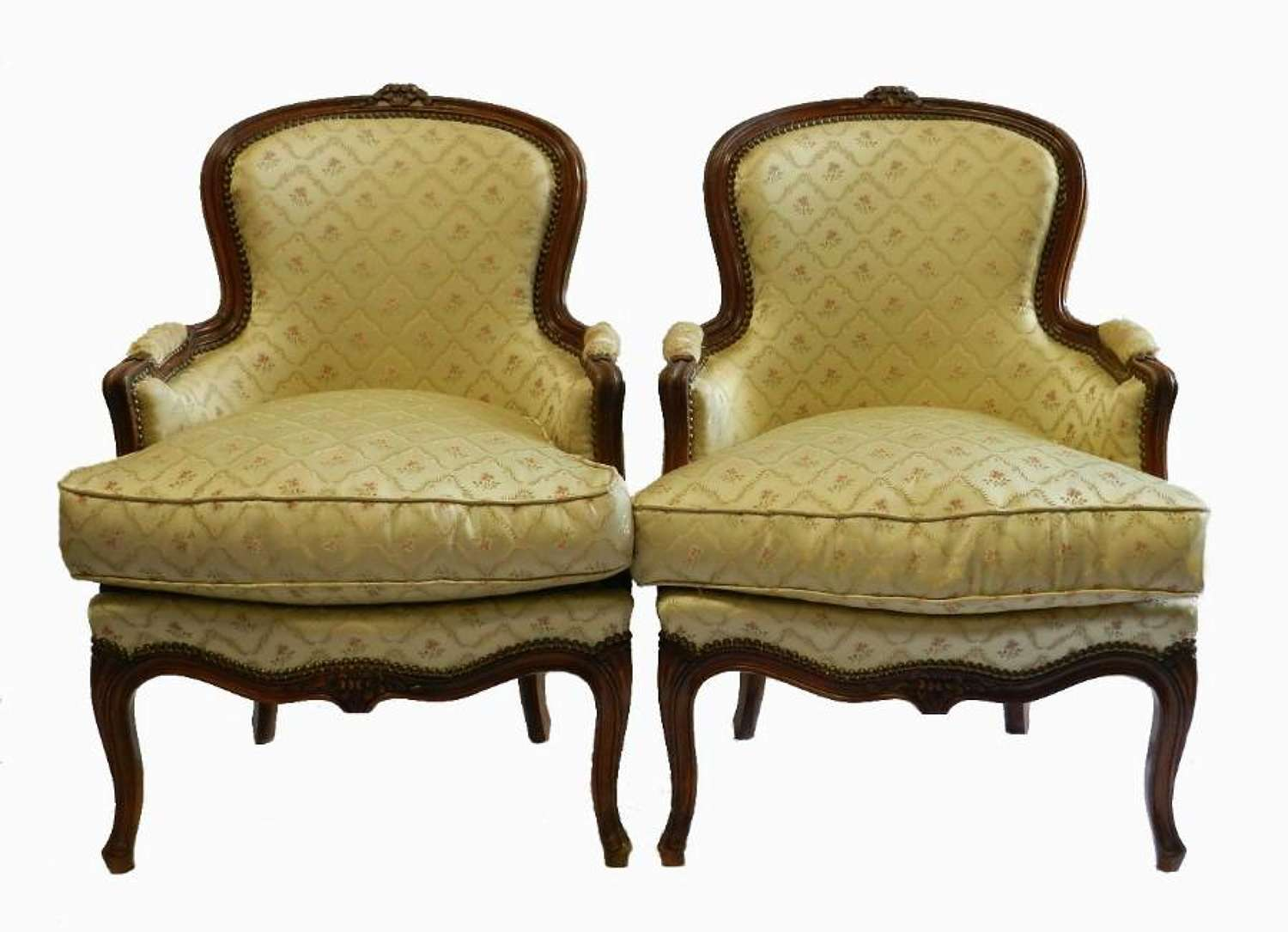 Pair of French Bergere Armchairs early C20 Louis