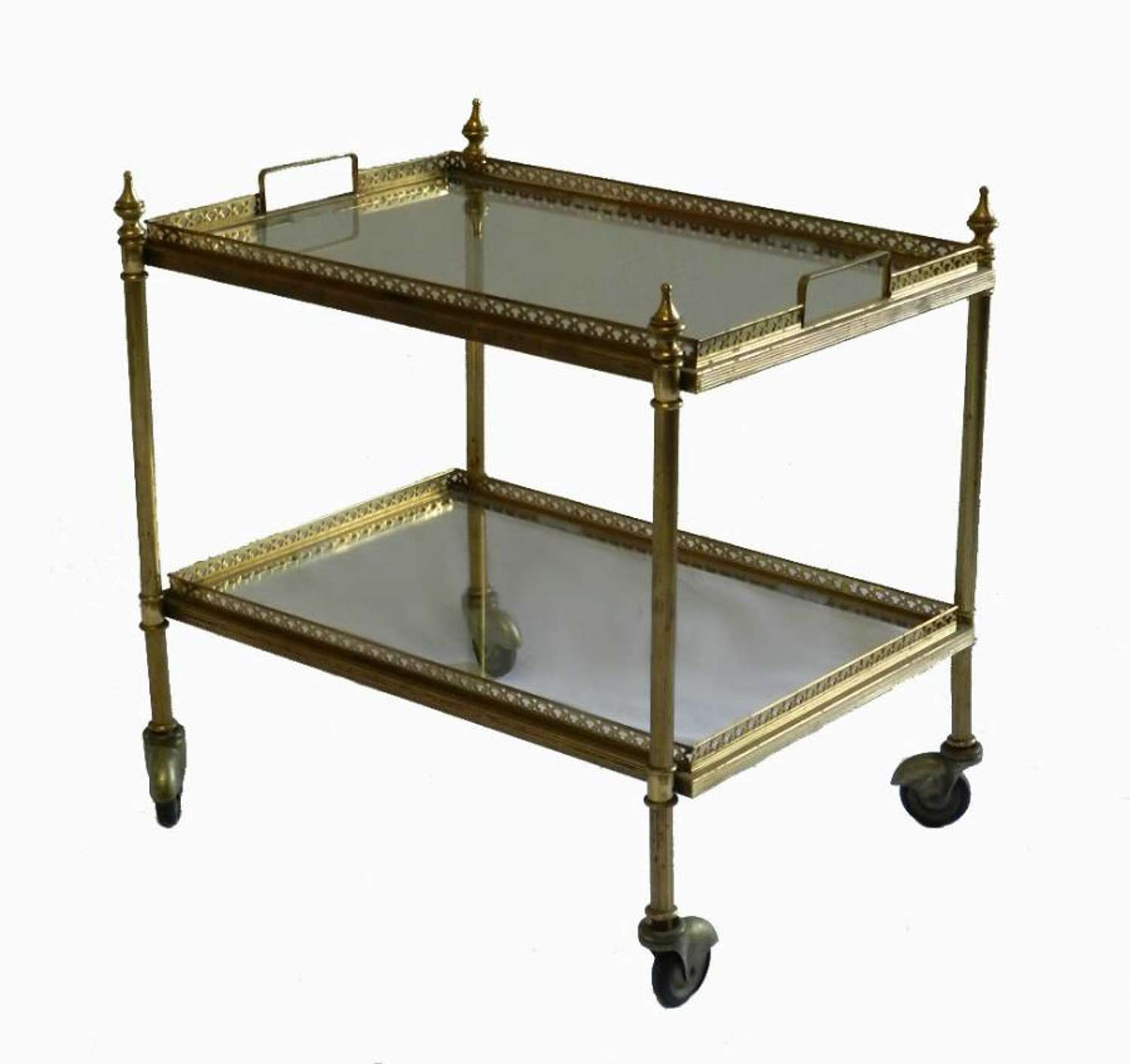 Small French Bar Cart Trolley Trays Brass & Glass