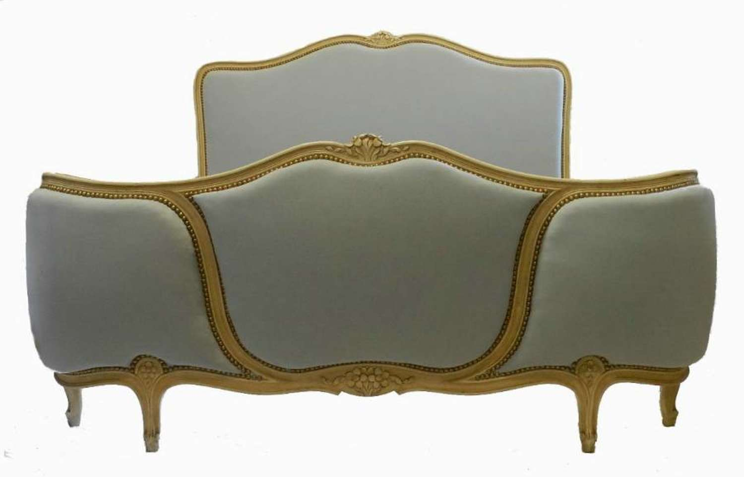 French Double Bed + Base Corbeille reupholstered ready to go