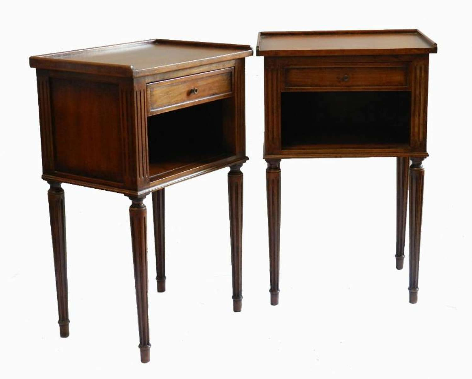 Pair French Side Cabinets Nightstands Bedside Tables vintage Louis XVI