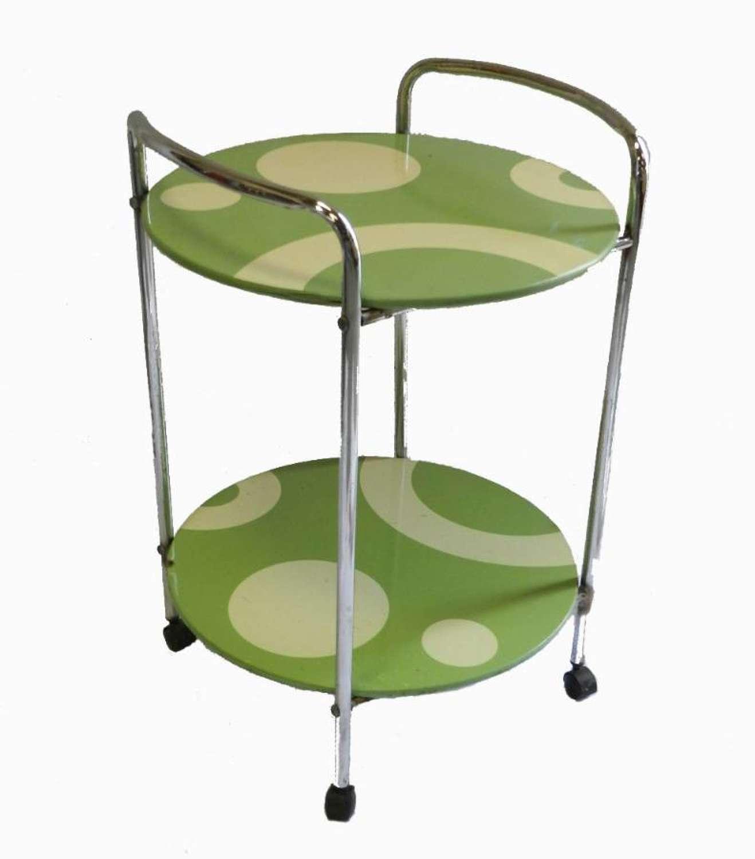 French 1960s Op Art Trolley Bar Cart